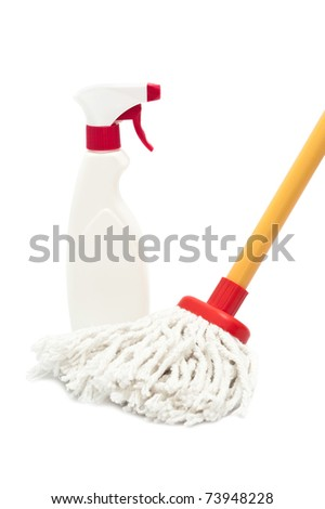 Close up of a mop and cleaner bottle isolated on white background - stock photo