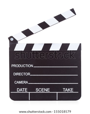 Close-up Of A Movie Production Clapper Board On White Background - stock photo