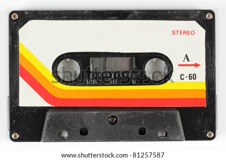 close-up of a music cassette - stock photo