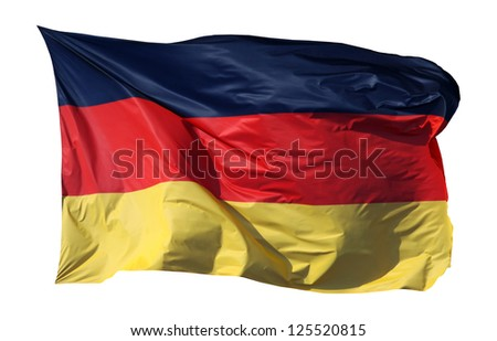 Close-up of a national flag of Germany, isolated on white background