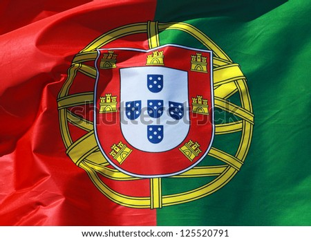Close-up of a national flag of Portugal - stock photo