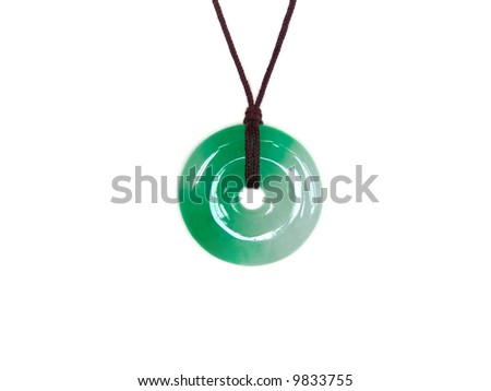 Close-up of a natural green round Asia jadestone - stock photo
