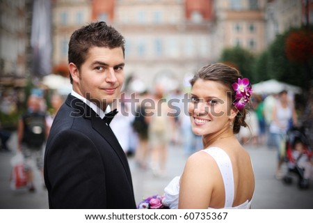 Close up of a nice young wedding couple - stock photo