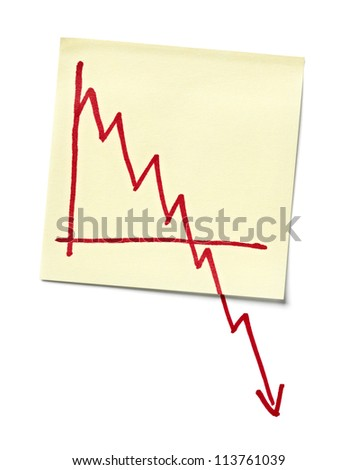 close up of a note paper with finance business graph going down - stock photo