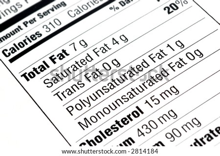 close up of a nutritional label centered on fat content - stock photo