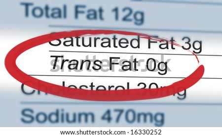 Close up of a nutritional label centered on Trans Fat content - stock photo