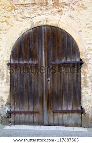 Close up of a old door, city Remich / Luxembourg, summer - stock photo