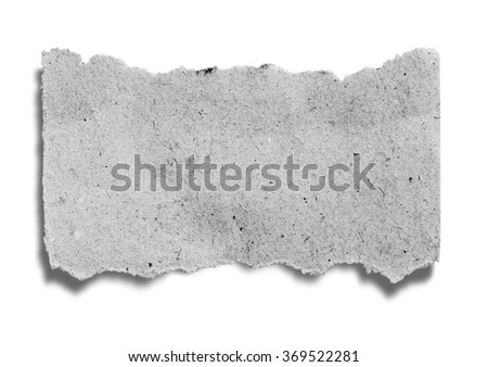 close up of a old newspaper piece on white background with clipping path - stock photo