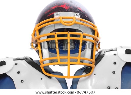 Close up of a old scratched football helmet and protection suit on a white background. - stock photo
