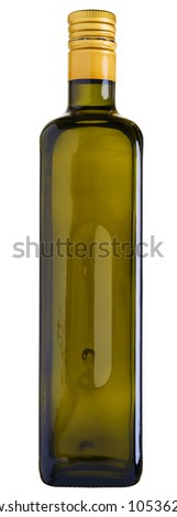 Close up of a olive oil bottle isolated on white. Stitched - original size. - stock photo