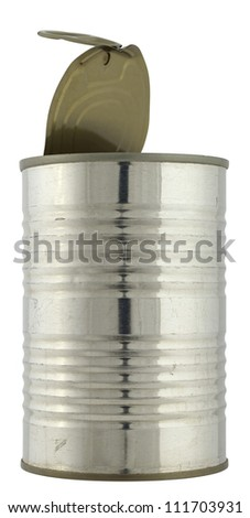 Close up of a open can isolated on white background, 2 images stitched. - stock photo