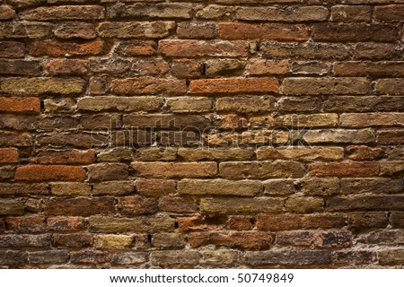 Close Up Of A Orange Brick Wall Background - stock photo