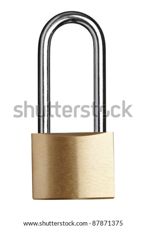 close up of  a padlock on white background with clipping path - stock photo