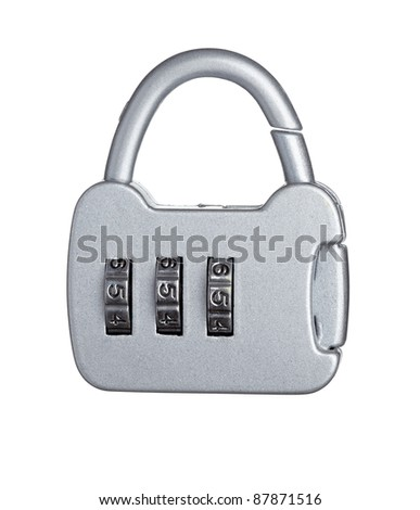 close up of  a padlock with code on white background with clipping path - stock photo