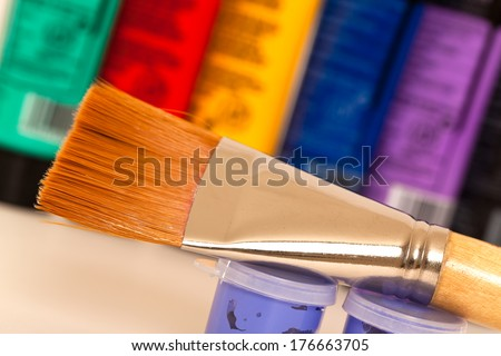 Close up of a paint brush  - stock photo