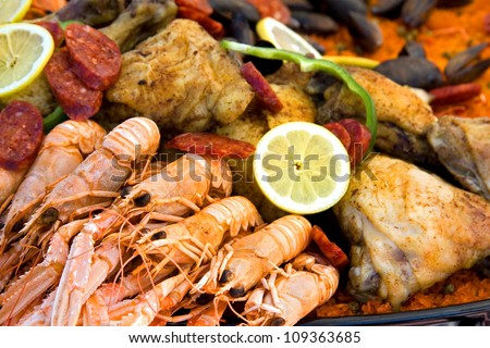 Close up of a pan of cooked Paella - stock photo