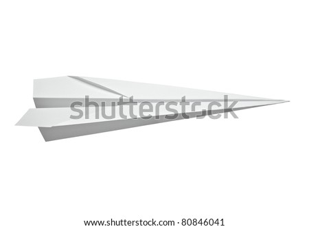 close up of  a paper airplane on white background with clipping path