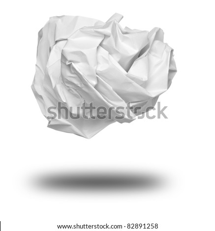 close up of a paper ball on white background with clipping path