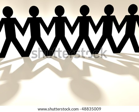 close up of a paper chain people with shadow and white background - stock photo