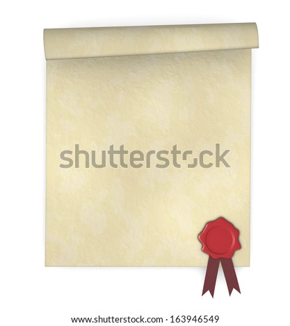 close up of a parchment with a sealing wax stamp (3d render) - stock photo