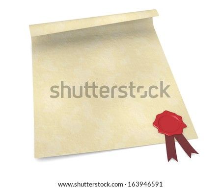 close up of a parchment with a sealing wax stamp (3d render)