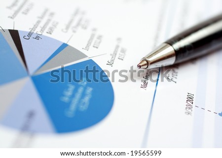 Close-up of a pen on a document. - stock photo