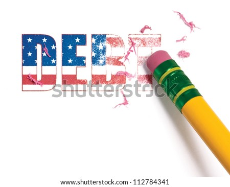 Close up of a pencil erasing the word, 'debt' filled with the United States flag.  Isolated on white. - stock photo