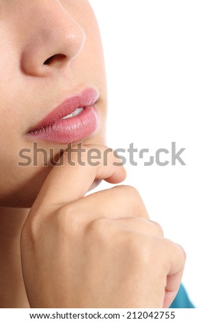 Close up of a pensive woman thinking isolated on a white background                 - stock photo