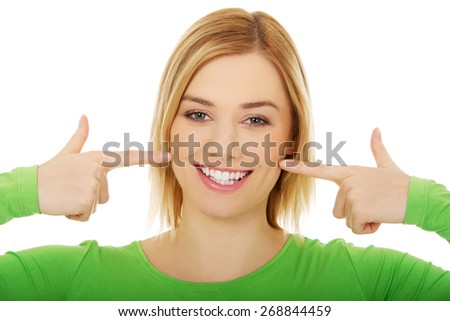 Close up of a perfect woman smile - stock photo