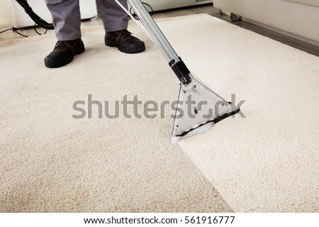 Closeup Person Cleaning Carpet Vacuum Cleaner Stock Photo