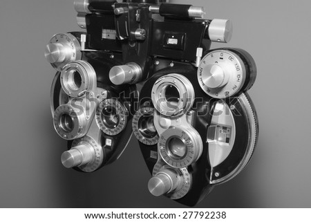 Close up of a phoropter used for eye examination - stock photo