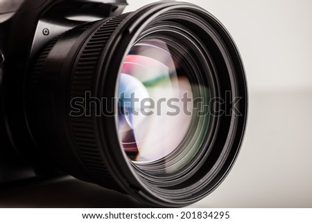 Close-up of a photographic lens