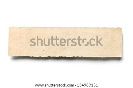 close up of a piece of newspaper on white background - stock photo