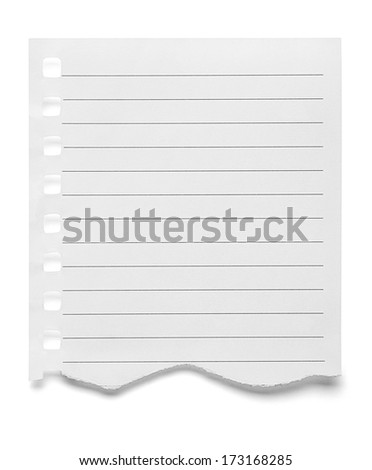 close up of  a piece of note paper on white background