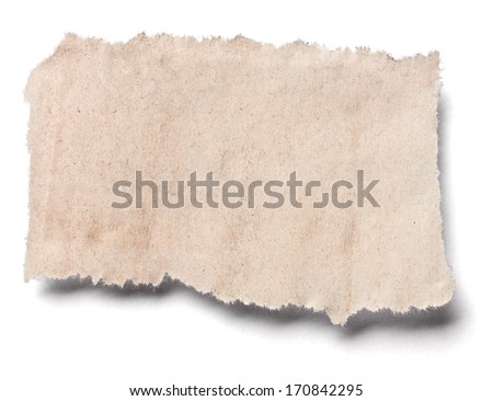 close up of a piece of ripped newspaper on white background - stock photo