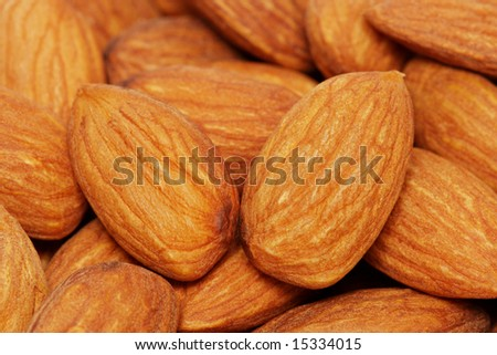 Close up of a pile of almond nuts.