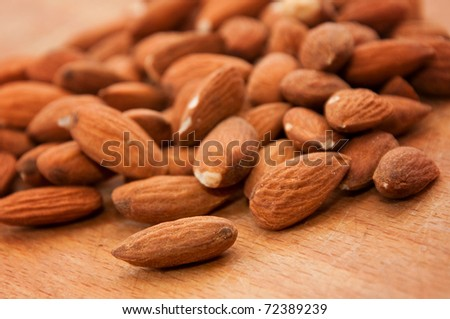 Close up of a pile of almonds