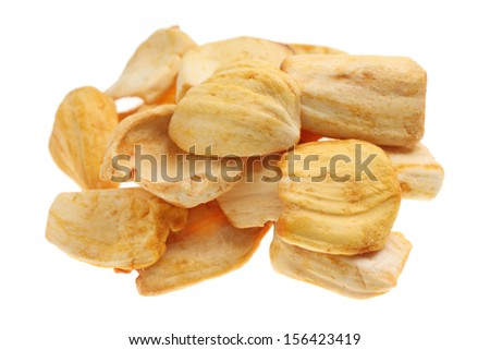 Close up of a pile of dried jackfruit chips isolated on white background. - stock photo