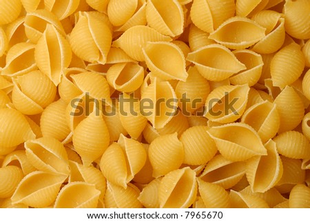 Close-up of a pile of shell pasta - stock photo
