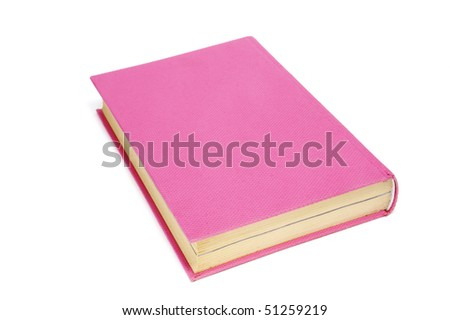 close up of a pink book isolated on a white background