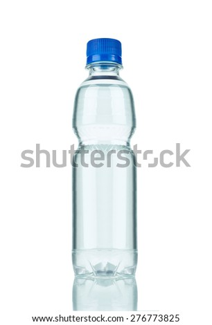 close up of  a plastic bottle on white background