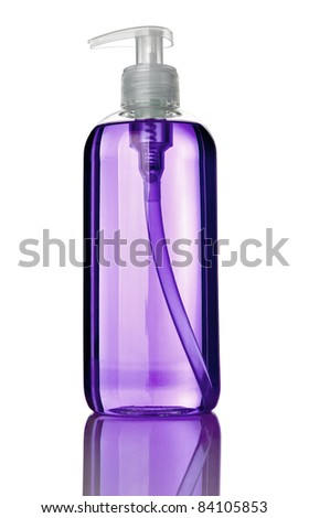 close up of a plastic soap bottle on white background with clipping path - stock photo