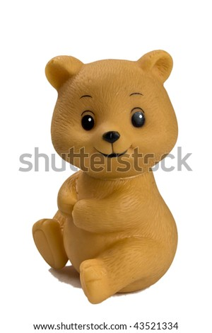 Close up of a plastic toy bear - isolated - stock photo