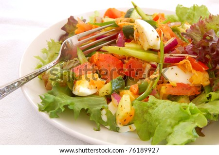 Close up of a plate of salad with chopped egg