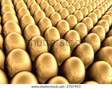 Close up of a plenty of gold eggs - stock photo