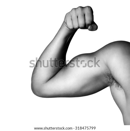 Close-up of a power fitness man's hand - stock photo