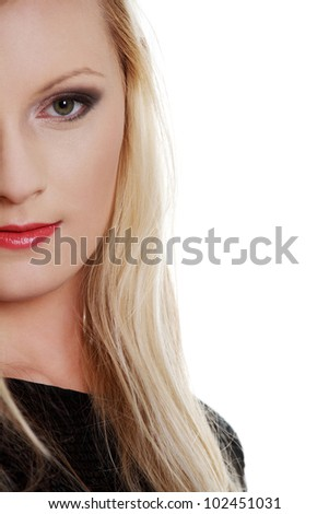 Close up of a pretty woman's face isolated on white background - stock photo