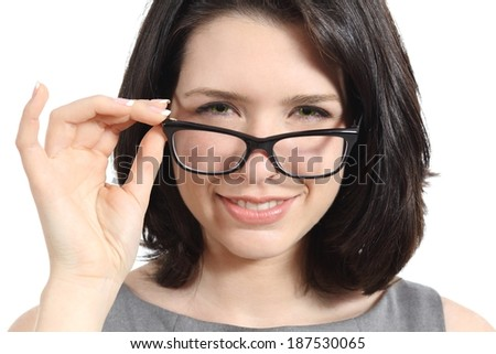 Close up of a pretty woman wearing glasses isolated on a white background