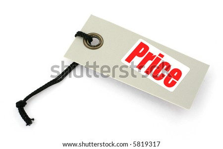 close-up of a Price tag against white, a small shadow under it, no copyright infringement - stock photo