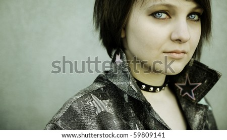 Close-Up of a Punk Girl - stock photo